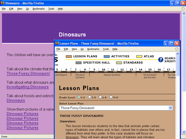 Screenshot of an IA project page aimed for kindergarten students